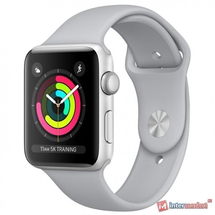 Умные часы AppleWatch Series3 GPS, 38mm Silver Aluminium Case with White Sport Band